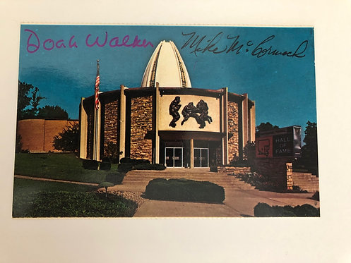 2 Autographs: Doak Walker & Mike McCormack on Football Hall of Fame Postcard