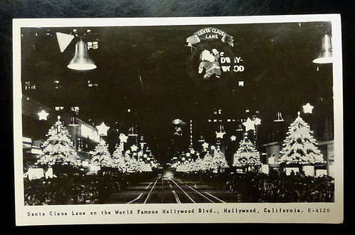 1948 HOLLYWOOD CA  1930's HOLLYWOOD BLVD ~ SANTA CLAUS LANE  RPPC