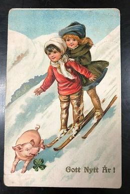 1914 Embossed Sweden Postcard Happy New Year, Kids Ski LUCKY PIG & 4-LEAF CLOVER