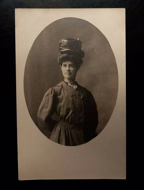 Edwardian period lady in Faille hat REAL Photo Postcard
