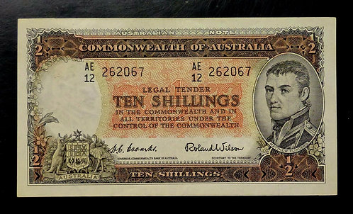 1954 AUSTRALIA Ten Shillings CURRENCY BANK NOTE #29 CRISP