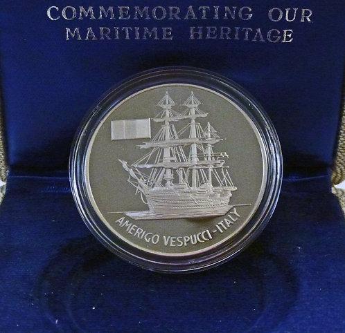 OP Sail 79 commemorative 1 ozt .925 Silver PF  Amerigo Vespucci-Italy