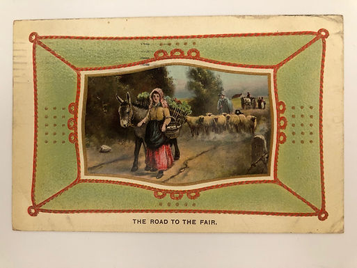 Vintage 1910 Postcard, Made in Saxony, Farm girl with donkey, Road to the Fair