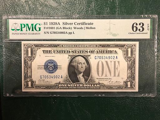 1928A $1 Silver Certificate FR#1601 GA Block - PMG Graded 63 Choice Uncirculated