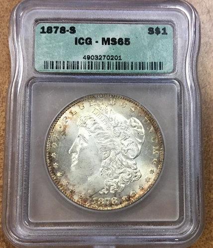1878 S Morgan Dollar ICG MS65 Old Green Holder Pretty toning