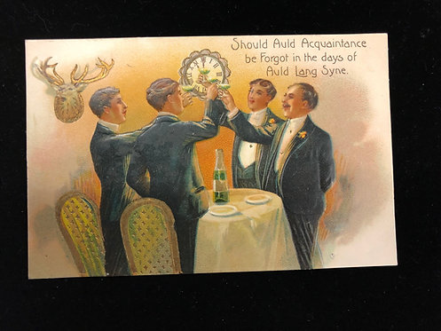 Antique 1900'S New Year Postcard, Men Elegantly Dressed in White Tie toasting