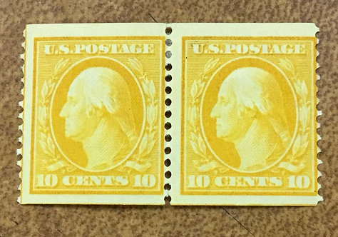 #356 10c 1909 COIL PAIR OG WITH PF CERT bright yellow Rare key stamp