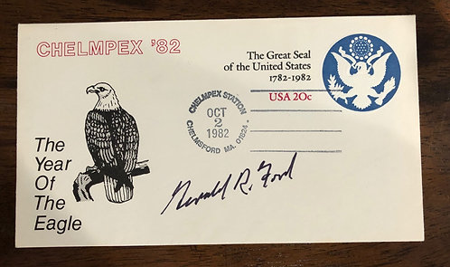 PRESIDENT Gerald Ford Signed 1982 First Day Cover FDC w/ Great Seal of U.S.