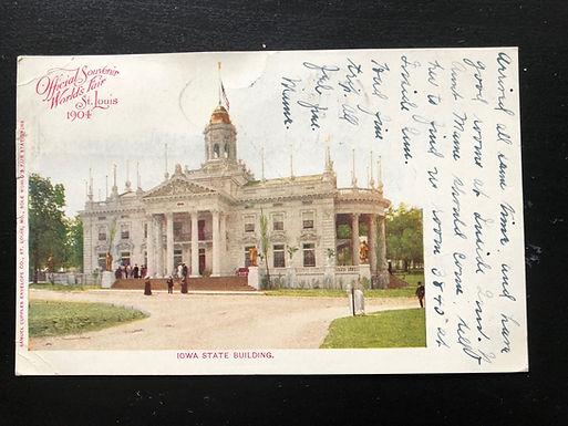 1904 St. Louis Exposition Postcard, IOWA State Building, Official Souvenir