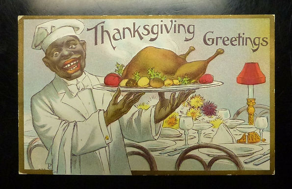 Vintage 1900 Postcard Black Chef holds Turkey, Thanksgiving Greetings