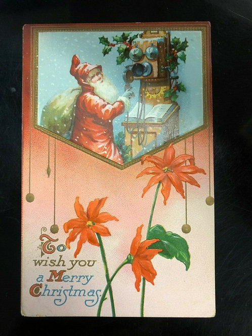 Antique Postcard with Santa on the Phone, Merry Christmas