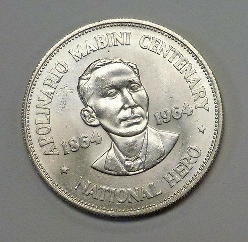 1964 PHILIPPINES One Peso Birth of HERO Apolinario Mabini .900 Silver.7523 ASW