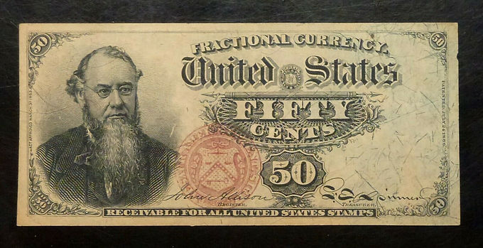 50¢ FIFTY CENTS U.S. Fractional Currency 4th ISSUE, FR 1376  Stauton
