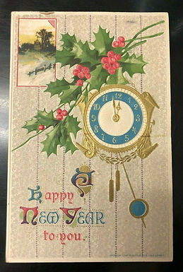 Great Condition Antique New Year Greetings Postcard 1912 Village w/ Flowers