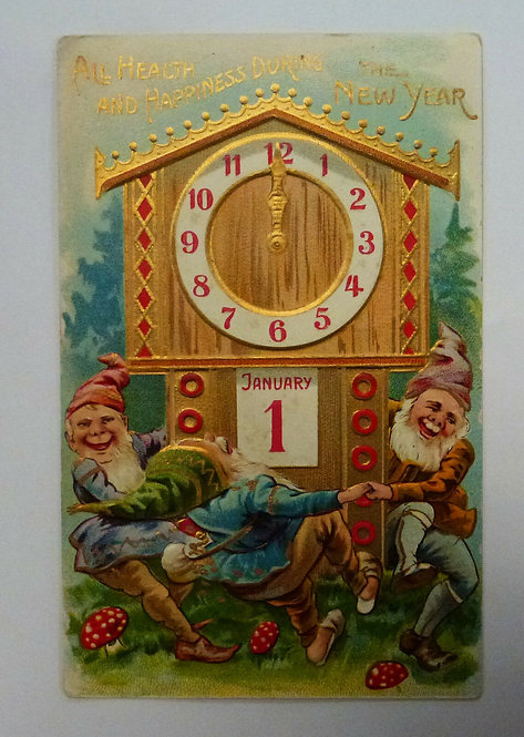 Vintage Postcard All Health & Happiness During the NEW YEAR Dancing Elves 1909