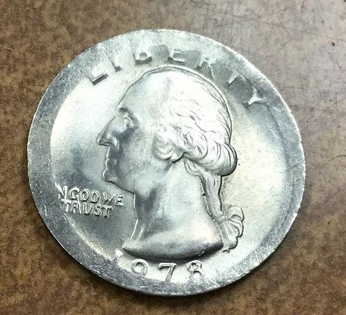 1978 quarter BROADstruck on type 1 blank 26mm Mint Error
