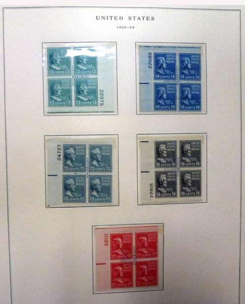 U.S. Stamp Collection- Presidential Series Plate blocks, Lot 1487