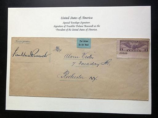 President Franklin D. Roosevelt Signed envelope