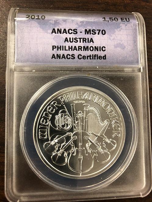 2010 AUSTRIA Philharmonic ANACS MS70 1,50 EURO, Silver