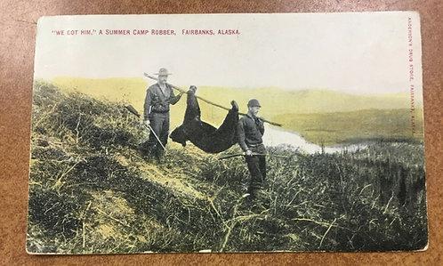 RARE postmark St. Michael Alaska 1915 RPPC Postcard Hunters carry Dead Bear
