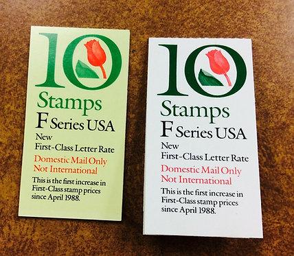 2 U.S. BOOKLETS OF 10 BK183 &184 1991 'F' TULIP (.29) list 36.75