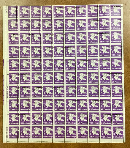 1818 18 cent B & Eagle stamp Drastic MISPERF ERROR sheet of 100 1981