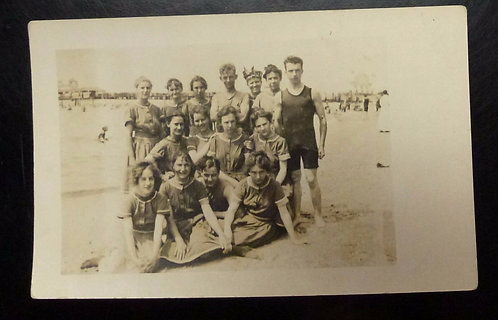 Vintage RPPC People in Edwardian Bathing Suits on the Beach