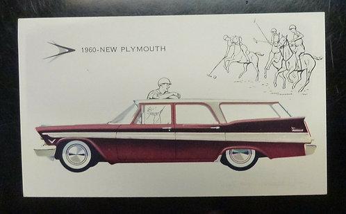 1960 NEW Plymouth Sport Suburban DEWEY TABER & DUTTON NY  Advertising Postcard