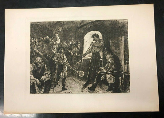 "ARTIST George Percy Jacomb-Hood  ""Glass Bottle Blowing"" Print of Etching"