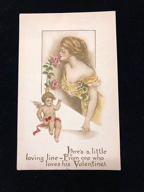 Antique 1910 Valentine Postcard, Gibson Girl in yellow dress & Pink Roses, CUPID