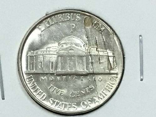 1945-P silver War Nickel Major Lamination error