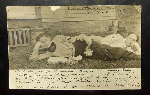 1907 TWO Sisters Lounging in the Grass BOOKS-Flowers JOHNSTON, NE Cancel