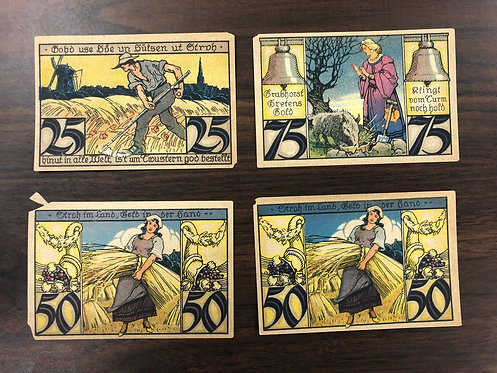4 variety NOTGELD notes 1921 Germany, Windmill, Wheat, Harvesting, Grapes