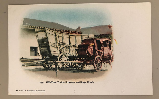 1900's  Old-Time Prairie Schooner & Stage Coach~ Litho Co. CLEAN