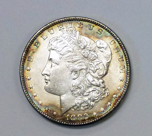 1882 MORGAN Silver DOLLAR RAINBOW RIM Both SIDES!