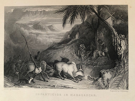 """1837 Antique Print engraved by J. Redaway after H. Melville """"...In Madagascar"""""""