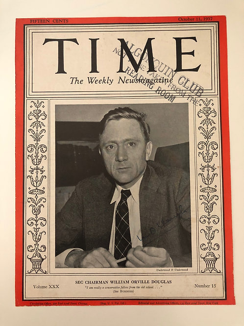 1937 Time Magazine cover w/ William O. Douglas AUTOGRAPH - Justice Supreme Court