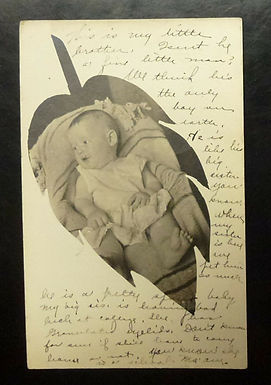 1907 INFANT laying on blanket REAL PHOTO POSTCARD Leaf cut out Drouillard