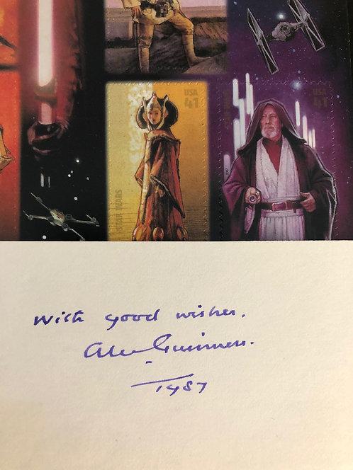 Alec Guinness Obi-Wan Kenobi Autograph Signed & Sheet of Star Wars Stamps