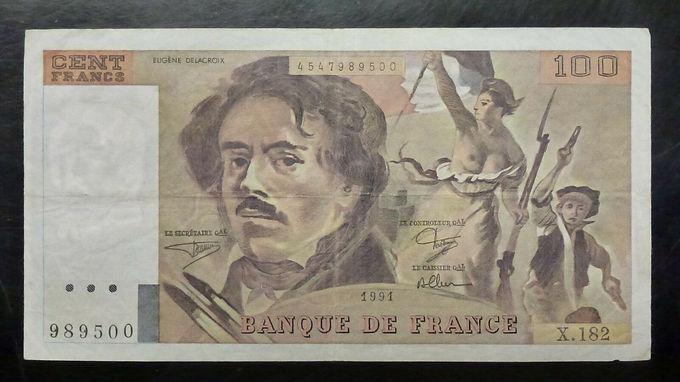 1991 Banque De FRANCE 100 Francs, P-154 (154f), Eugene Delacroix & Marianne