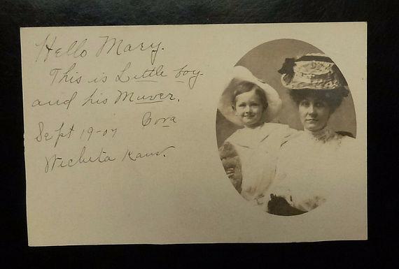 1907 Vintage postcard Portrait RPPC Mother & Son Wichita Kansas