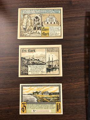 3 NOTGELD Emergency Notes 1921 from Germany, 1 Mark, 2 Mark, & 75 Pf