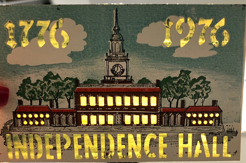 1975 HOLD-TO-LIGHT POSTCARD UNITED STATES BICENTENNIAL INDEPENDENCE HALL