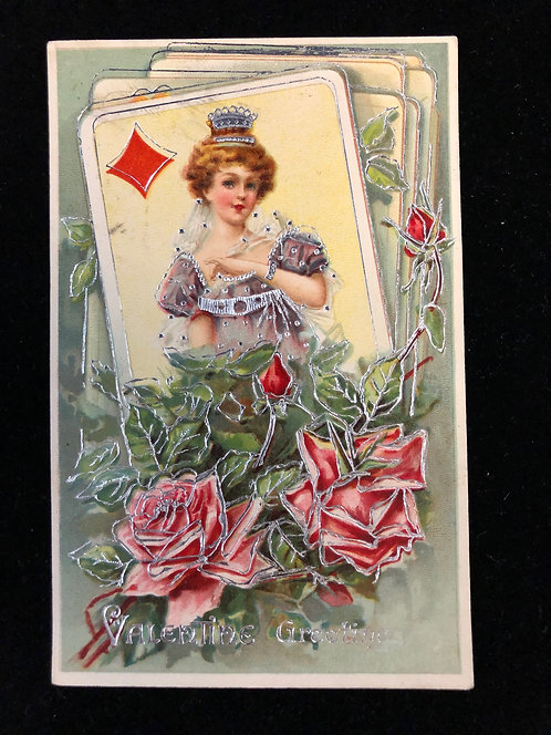 Ace of Diamonds Antique Valentine Postcard 1910, Queen & Roses