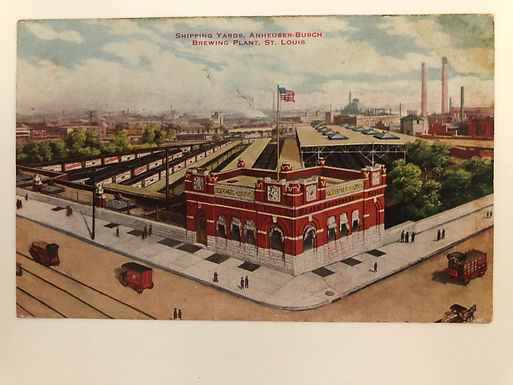 Vintage 1912 Anheuser Busch Brewing Postcard showing BEER brewing plant
