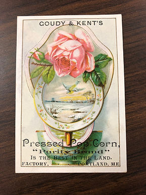 Vintage Portland, Maine label Goudy and Kent's Pressed Pop Corn