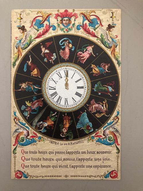 Vintage 1910 ITALIAN Postcard, ROMA - LE ORE DI RAFFAELLO: Horoscope Clock