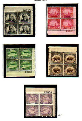 U.S. Stamps- Plate Blocks #692-701, Lot 1147