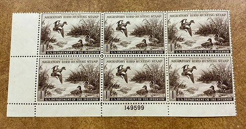 RW9 Duck 1942 Migratory Bird Hunting Plate Block of 6 VF Never Hinged