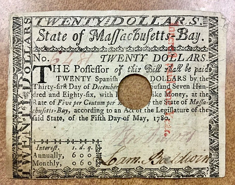 1780 COLONIAL CURRENCY State of Massachusetts Bay$20